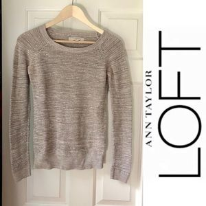 Anne Taylor Loft Loose Knit Crew Sweater- XS